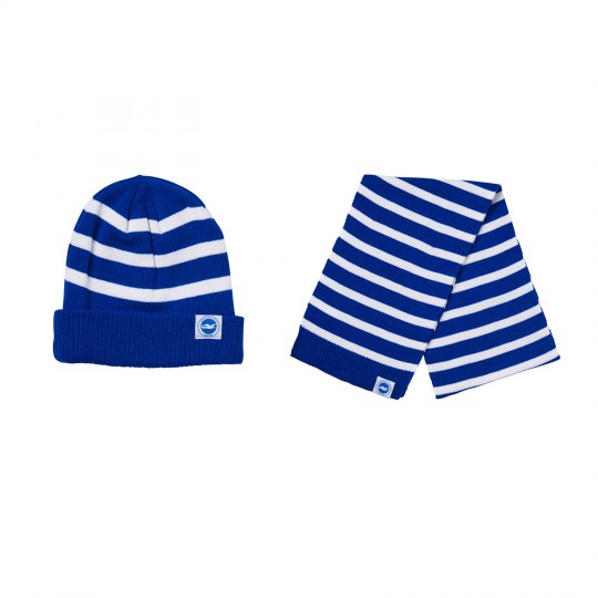 KIDS STRIPED HAT AND SCARF SET