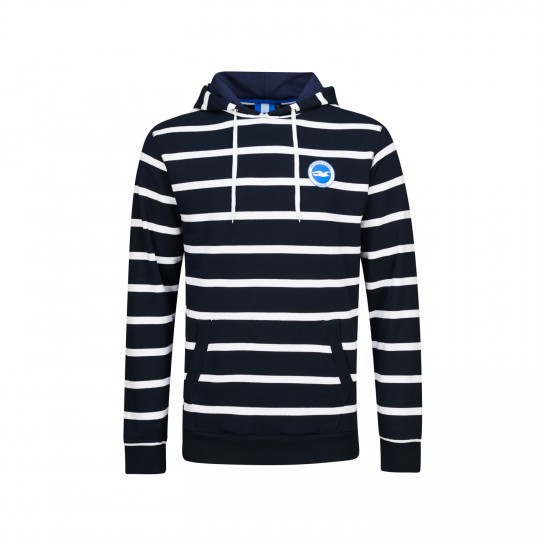 NAVY & WHITE STRIPED HOODIE