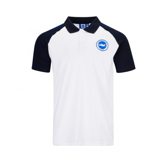 White & Navy Raglan Polo