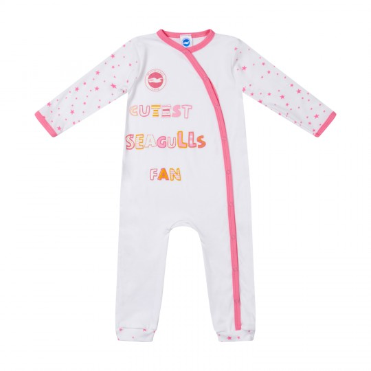 WHITE/PINK SLEEPSUIT