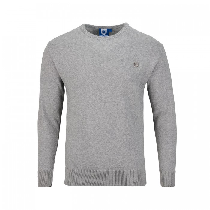 GREY KNITTED CREW NECK JUMPER